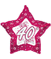 "18"" Pink & Silver ""40"" Happy Birthday Foil Balloon"
