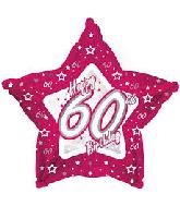 "18"" Pink & Silver ""60"" Happy Birthday Foil Balloon"