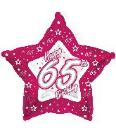 "18"" Pink & Silver ""65"" Happy Birthday Foil Balloon"
