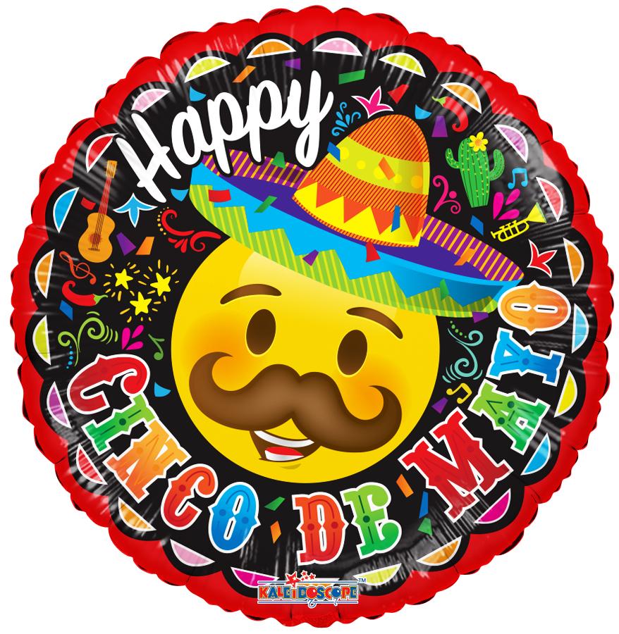 """18"""" Cinco De Mayo Smiley Foil Balloon"""