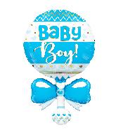 "36"" Baby Rattle Blue Shape Foil Balloon"