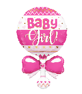 """36"""" Baby Rattle Pink Shape Foil Balloon"""