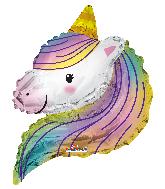 """12"""" Airfill Only Unicorn Rainbow Shape Foil Balloon"""