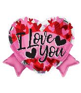 "18"" Love Heart With Banner Shape Foil Balloon"