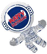 """36"""" Happy Birthday Astronaut Jumbo Shape Foil Balloon"""