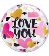 """22"""" Round Love You Hearts & Arrows Bubble Balloon"""