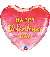 "18"" Heart Valentine's Day Arrow Gold Foil Balloon"