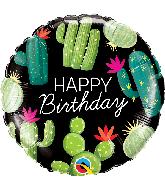 "18"" Round Birthday Cactuses Foil Balloon"