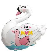 "28"" I Love You Mom Swan Shape Foil Balloon"