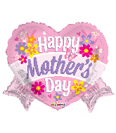 """18"""" Happy Mother's Day Heart With Banner Shape Foil Balloon"""