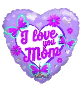 """18"""" I Love You Mom Butterflies And Flowers Foil Balloon"""