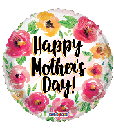 """18"""" Happy Mother's Day Watercolor Roses Foil Balloon"""