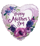"""18"""" Happy Mother's Day Violet Flowers Foil Balloon"""