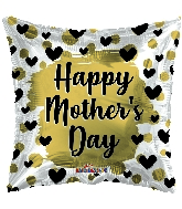 """18"""" Happy Mother's Day Gold & Black Hearts Foil Balloon"""