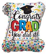 """20"""" Congrats Grad Diploma Shape Foil Balloon"""