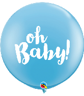 """36"""" Oh Baby! Pale Blue (2 Per Bag) Latex Balloons"""