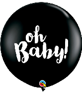 "36"" Oh Baby! Onyx Black (2 Per Bag) Latex Balloons"