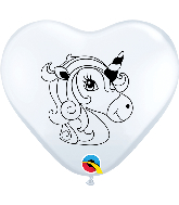 "6"" Heart Unicorn Profile White (100 Per Bag) Latex Balloons"
