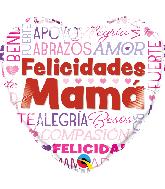 """18"""" Heart Felicidades Mama Words Foil Balloon"""