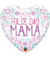 "18"" Heart Feliz Dia Mama Pastel Colors Foil Balloon"