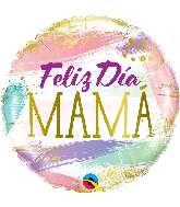 "18"" Round Feliz Dia Mama Color Swashes Foil Balloon"