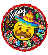 "18"" Cinco De Mayo Smiley Foil Balloon"