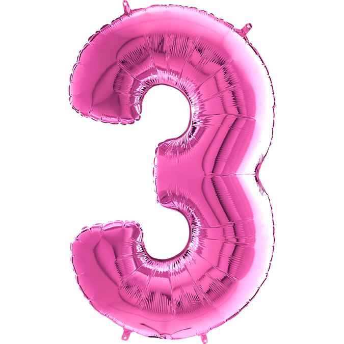 "26"" Midsize Foil Shape Balloon Number 3 Fuschia"