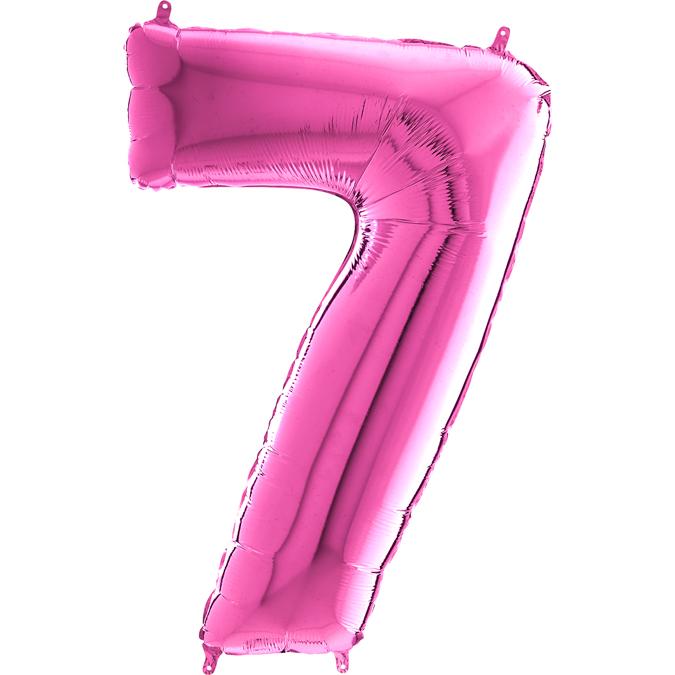 "26"" Midsize Foil Shape Balloon Number 7 Fuschia"