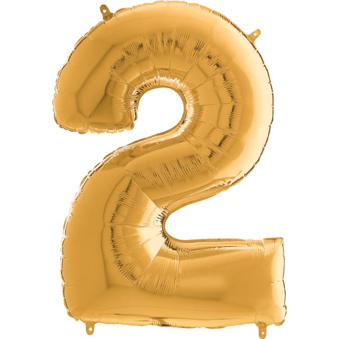 "26"" Midsize Foil Shape Balloon Number 2 Gold"