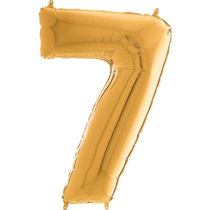 "26"" Midsize Foil Shape Balloon Number 7 Gold"