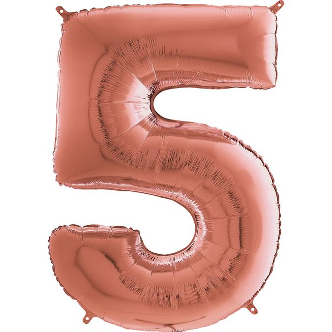 "26"" Midsize Foil Shape Balloon Number 5 Rose Gold"