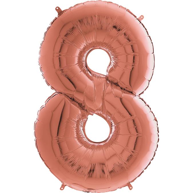 "26"" Midsize Foil Shape Balloon Number 8 Rose Gold"