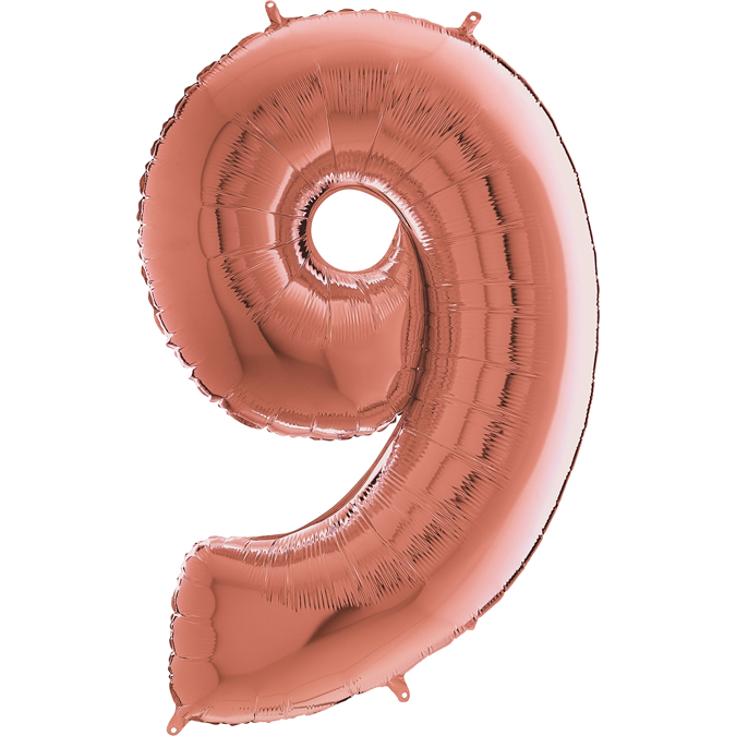 "26"" Midsize Foil Shape Balloon Number 9 Rose Gold"