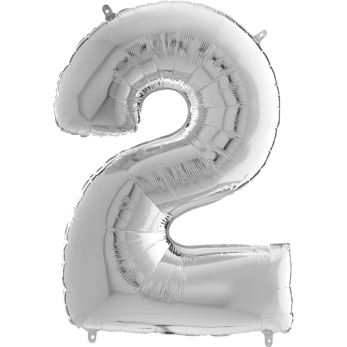"26"" Midsize Foil Shape Balloon Number 2 Silver"