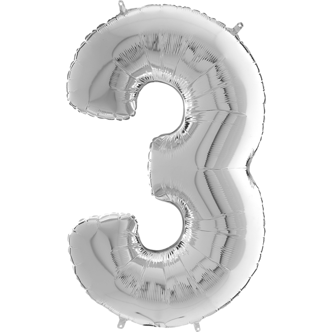 "26"" Midsize Foil Shape Balloon Number 3 Silver"