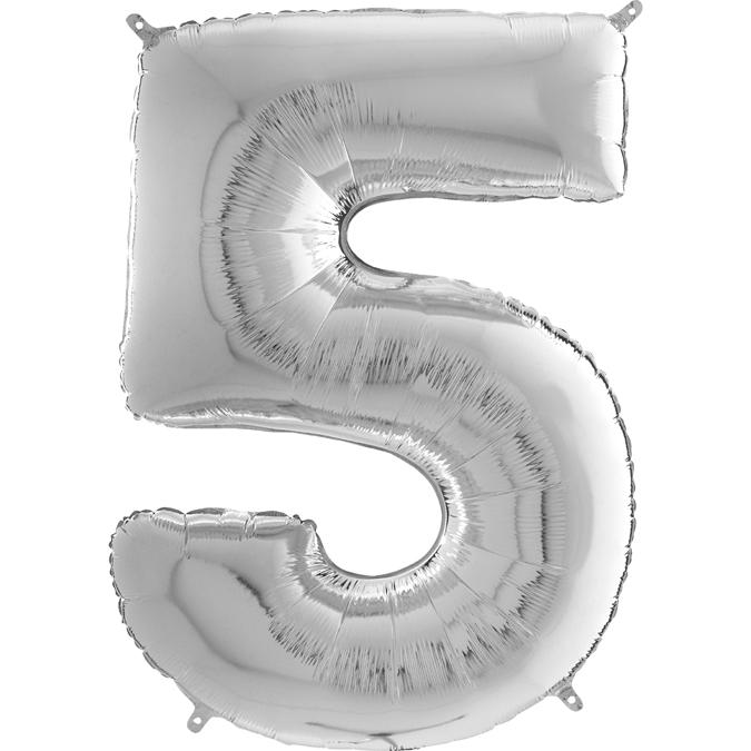 "26"" Midsize Foil Shape Balloon Number 5 Silver"