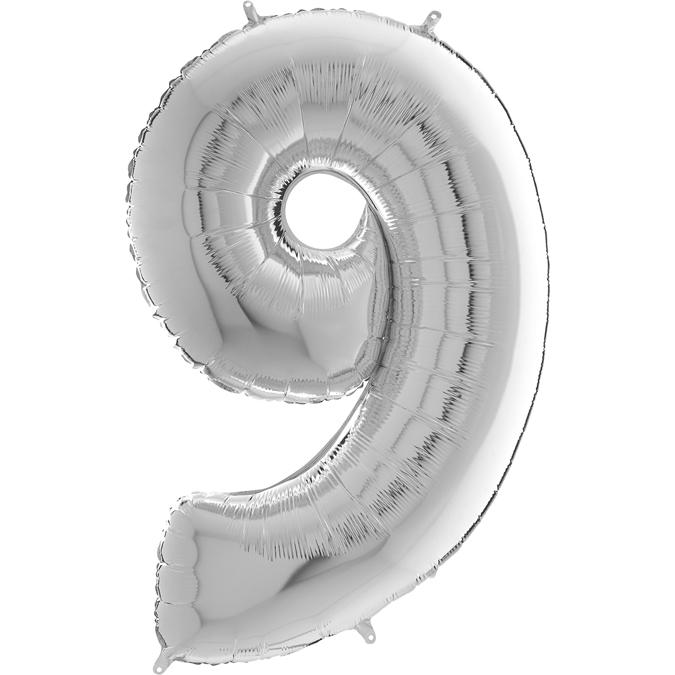 "26"" Midsize Foil Shape Balloon Number 9 Silver"