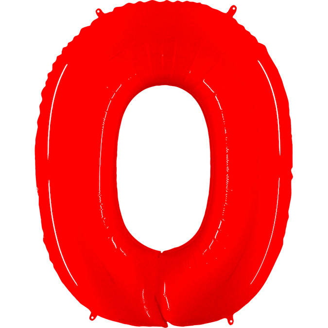 """40"""" Foil Shape Balloon Number 0 Fluorescence Red"""