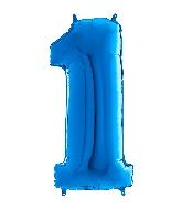 "26"" Midsize Foil Shape Balloon Number 1 Blue"