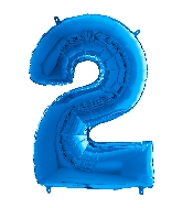 "26"" Midsize Foil Shape Balloon Number 2 Blue"