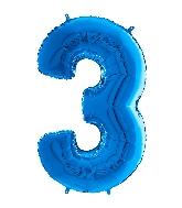 "26"" Midsize Foil Shape Balloon Number 3 Blue"