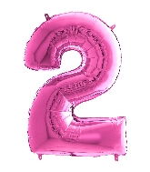 "26"" Midsize Foil Shape Balloon Number 2 Fuschia"
