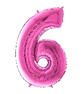 "26"" Midsize Foil Shape Balloon Number 6 Fuschia"