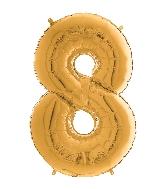 "26"" Midsize Foil Shape Balloon Number 8 Gold"