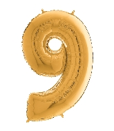 "26"" Midsize Foil Shape Balloon Number 9 Gold"