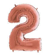 "26"" Midsize Foil Shape Balloon Number 2 Rose Gold"