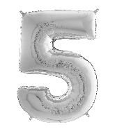 "26"" Midsize Foil Shape Balloon Number 5 Silver"