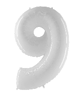 "40"" Foil Shape Balloon Number 9 Bright White"
