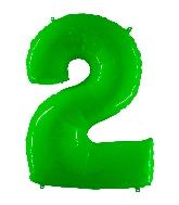 "40"" Foil Shape Balloon Number 2 Fluorescence Lime"