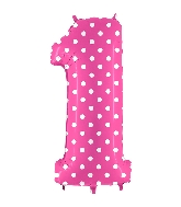 """40"""" Foil Shape Balloon Number 1 Baby Pink Dots"""